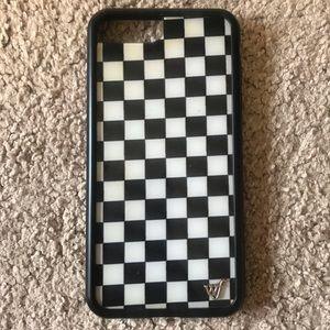 checkered wildflower iphone case